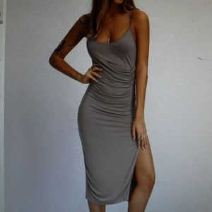 NWOT Grey Spaghetti Strap Ruched Split  Dress  Sm